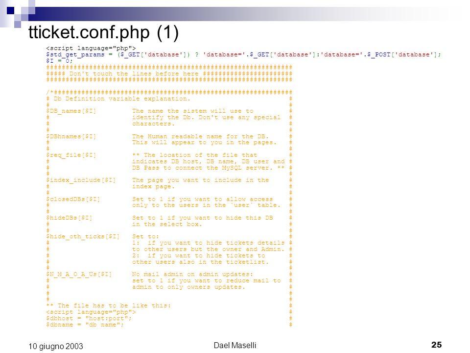 Dael Maselli25 10 giugno 2003 tticket.conf.php (1) $std_get_params = ($_GET['database']) ? 'database='.$_GET['database']:'database='.$_POST['database'