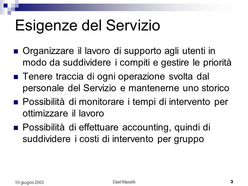Dael Maselli3 10 giugno 2003 Esigenze del Servizio Organizzare il lavoro di supporto agli utenti in modo da suddividere i compiti e gestire le priorit
