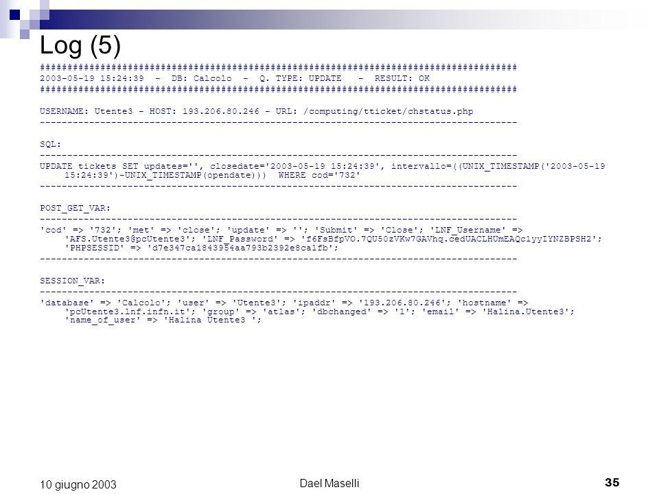 Dael Maselli35 10 giugno 2003 Log (5) ####################################################################################### 2003-05-19 15:24:39 - DB: Calcolo - Q.