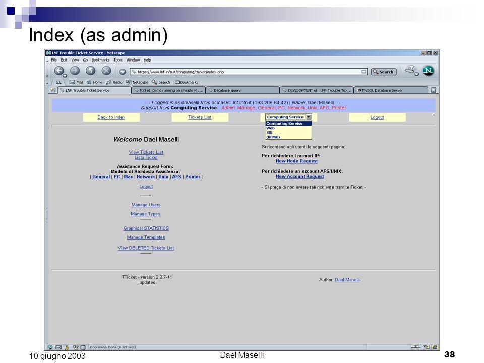 Dael Maselli38 10 giugno 2003 Index (as admin)
