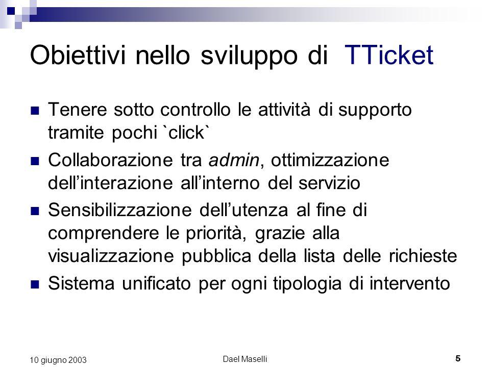 Dael Maselli5 10 giugno 2003 Obiettivi nello sviluppo di TTicket Tenere sotto controllo le attività di supporto tramite pochi `click` Collaborazione t