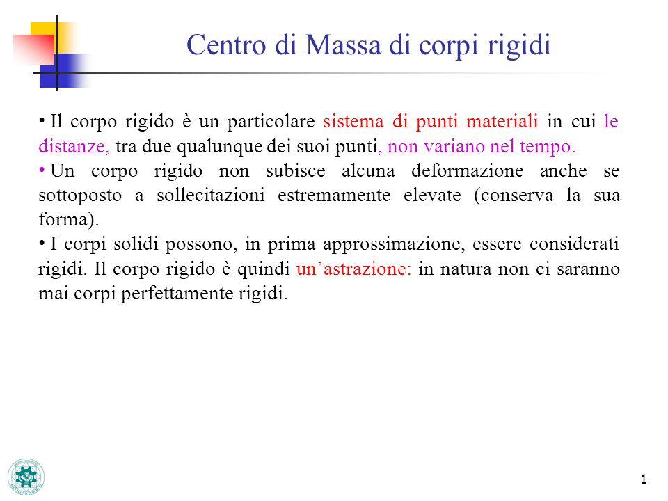 Centro di Massa di corpi rigidi 1 Il corpo rigido è un particolare sistema di punti materiali in cui le distanze, tra due qualunque dei suoi punti, no