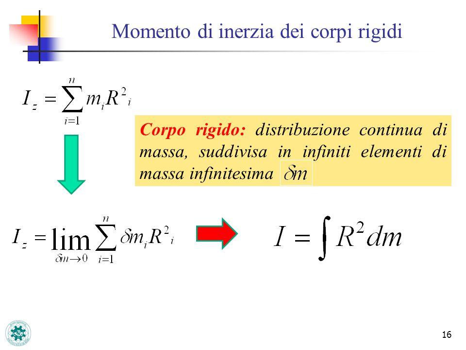 Momento di inerzia dei corpi rigidi 16 Corpo rigido: distribuzione continua di massa, suddivisa in infiniti elementi di massa infinitesima