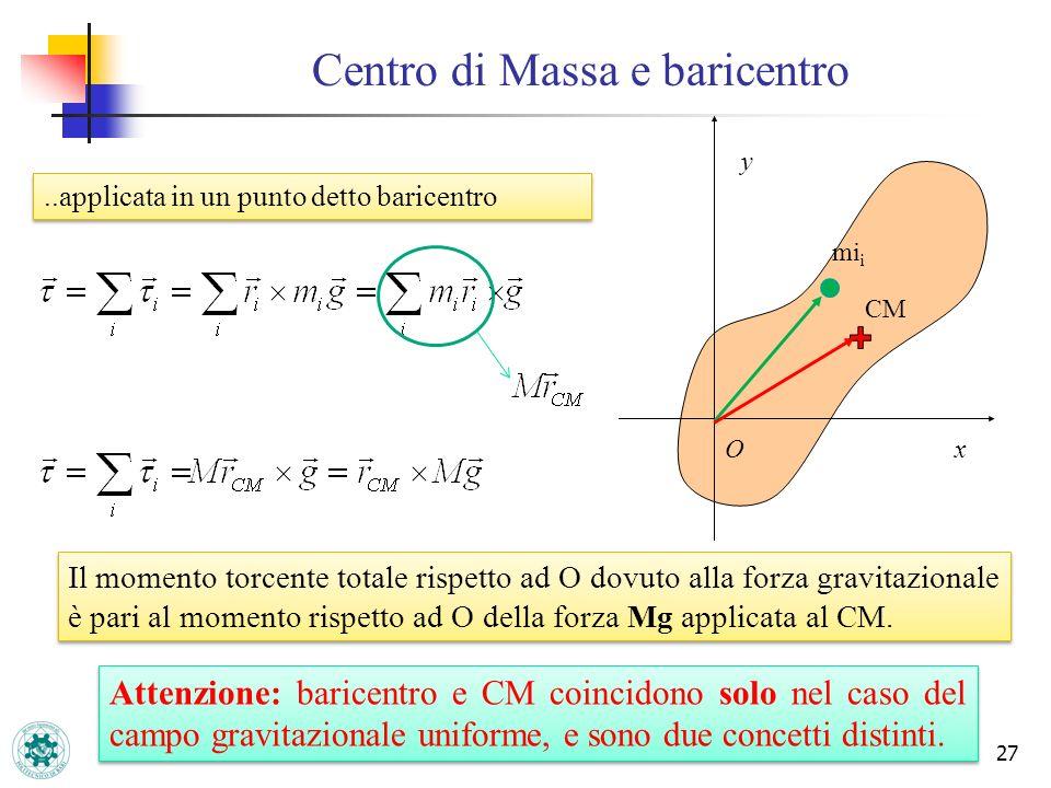 Centro di Massa e baricentro 27..applicata in un punto detto baricentro CM x y O mi i Il momento torcente totale rispetto ad O dovuto alla forza gravi