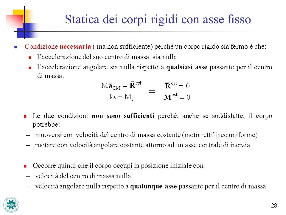 Statica dei corpi rigidi con asse fisso 28 Condizione necessaria ( ma non sufficiente) perché un corpo rigido sia fermo è che: laccelerazione del suo