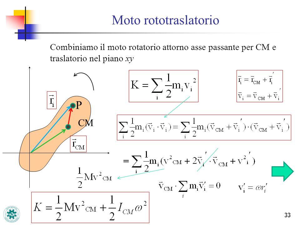 Moto rototraslatorio 33 Combiniamo il moto rotatorio attorno asse passante per CM e traslatorio nel piano xy P CM