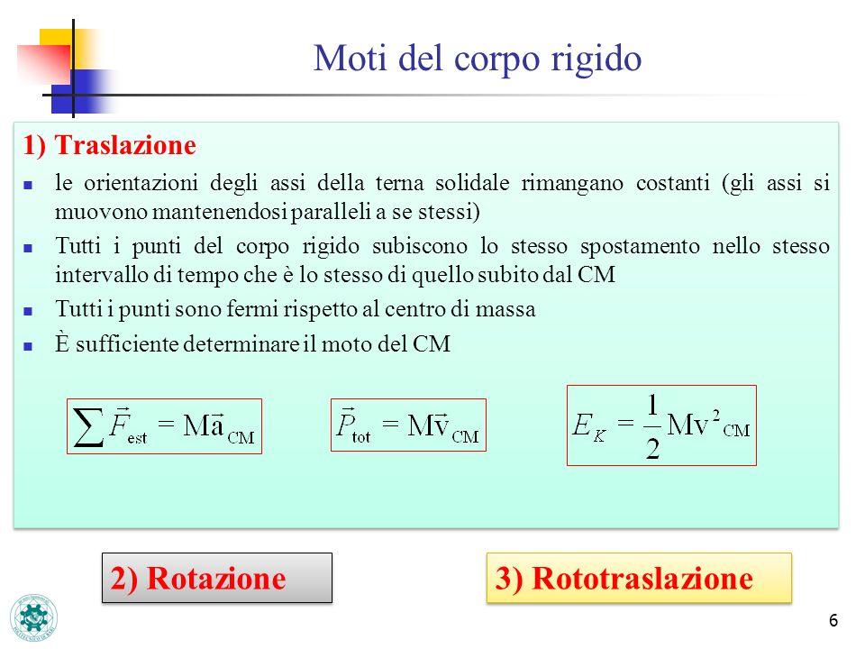 Moti del corpo rigido 6 1) Traslazione le orientazioni degli assi della terna solidale rimangano costanti (gli assi si muovono mantenendosi paralleli