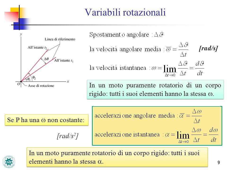 9 Variabili rotazionali [rad/s] In un moto puramente rotatorio di un corpo rigido: tutti i suoi elementi hanno la stessa. Se P ha una non costante: [r
