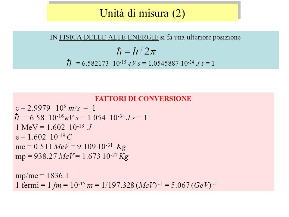 IN FISICA DELLE ALTE ENERGIE si fa una ulteriore posizione = 6.582173 10 -16 eV s = 1.0545887 10 -34 J s = 1 Unità di misura (2) FATTORI DI CONVERSION
