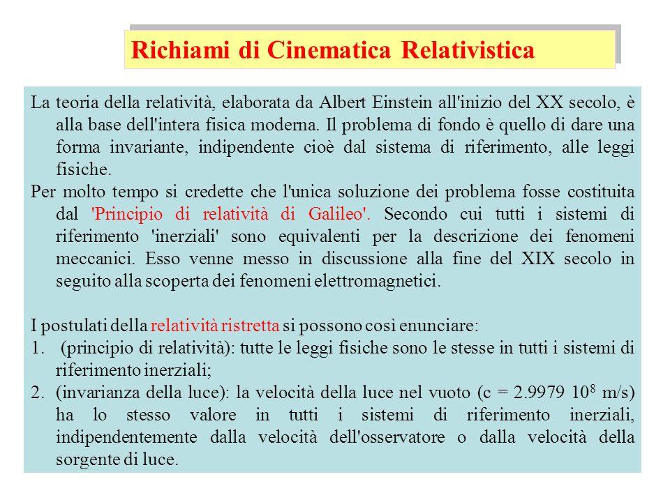 Senza perdere di generalità, consideriamo un sistema di riferimento S che abbia i tre assi spaziali paralleli a quelli di S, che si muova con velocità v lungo l asse x di S e che le origini dei due sistemi di riferimento coincidano per t = t = 0 Trasformazioni di Lorentz Si può dimostrare che esiste uno e un solo sistema di equazioni capace di soddisfare i due postulati: I tempi non sono più gli stessi nei due sistemi inerziali