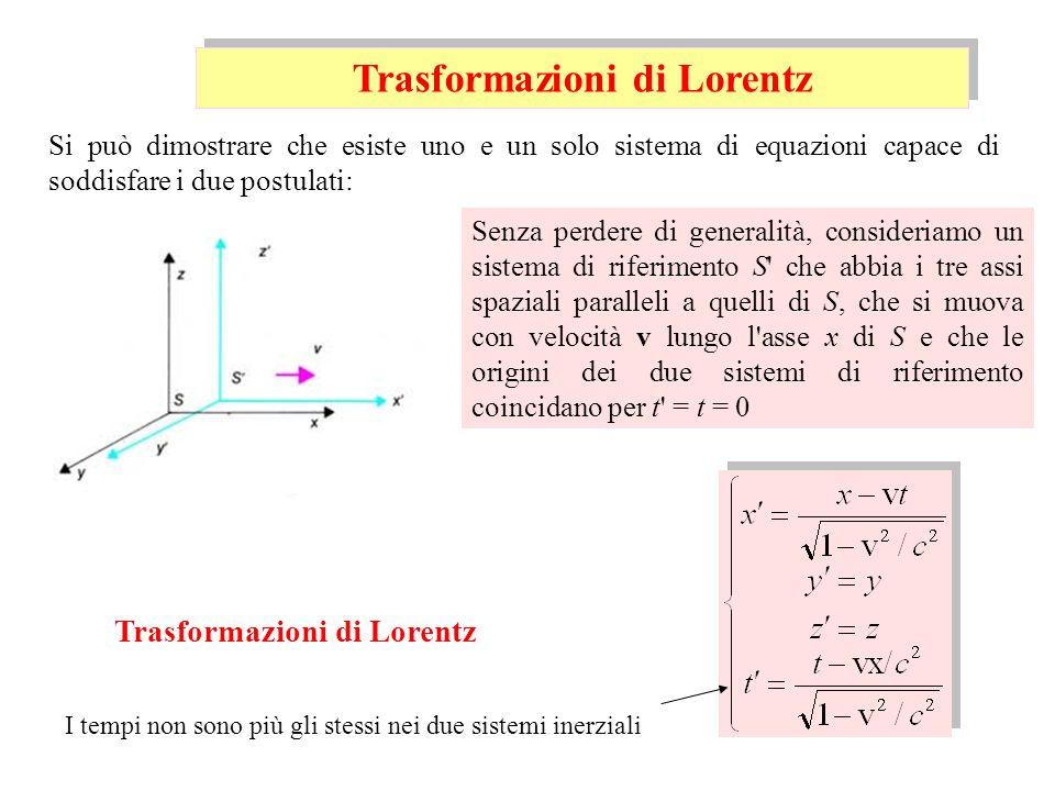 Senza perdere di generalità, consideriamo un sistema di riferimento S' che abbia i tre assi spaziali paralleli a quelli di S, che si muova con velocit