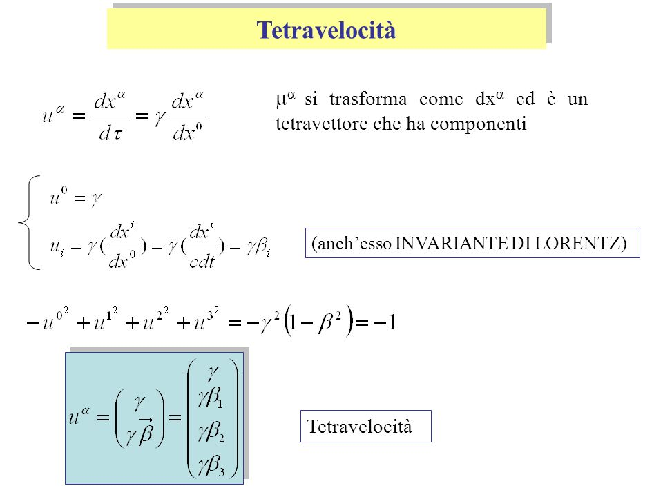 Tetramomento Il TETRAMOMENTO DI UNA PARTICELLA DI MASSA m, è dato da: Ad esempio, per una particella che si muove lungo lasse x: per 0 siamo nel limite classico, quindi 1 Al limite classico le componenti spaziali, sono componenti della quantità di moto Ener.