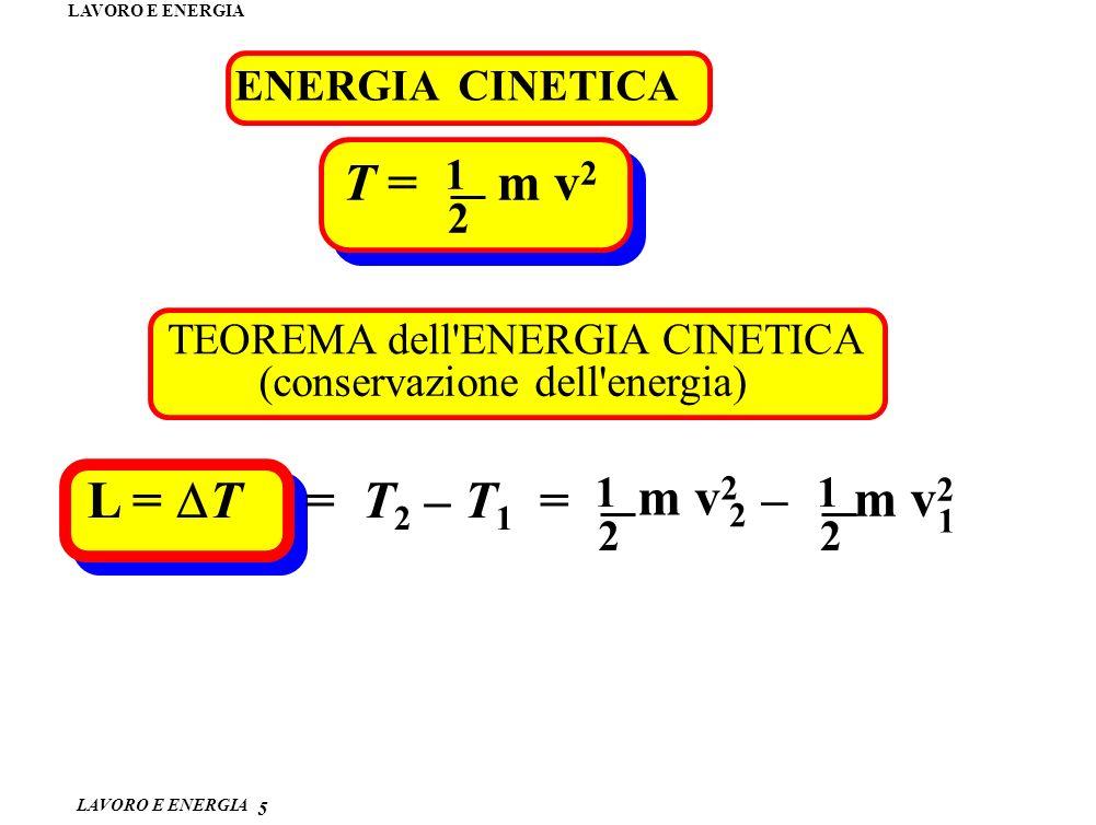 LAVORO E ENERGIA ENERGIA CINETICA 5 T = m v 2 1 2 TEOREMA dell'ENERGIA CINETICA (conservazione dell'energia) L = T = T 2 – T 1 = m v 2 2 1 – m v 2 1 2