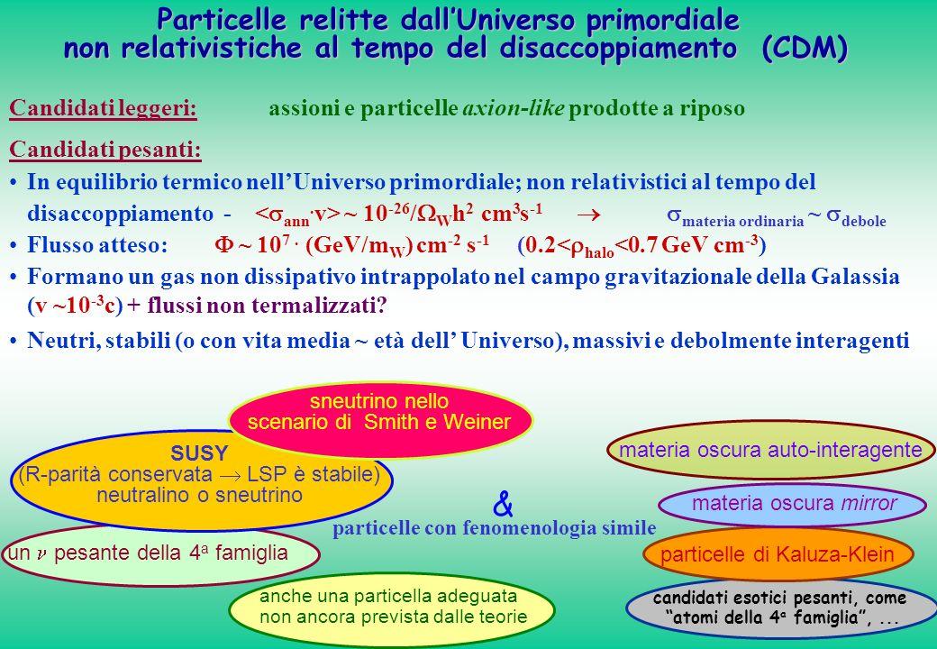 candidati esotici pesanti, come atomi della 4 a famiglia,... materia oscura auto-interagente particelle di Kaluza-Klein Candidati pesanti: In equilibr