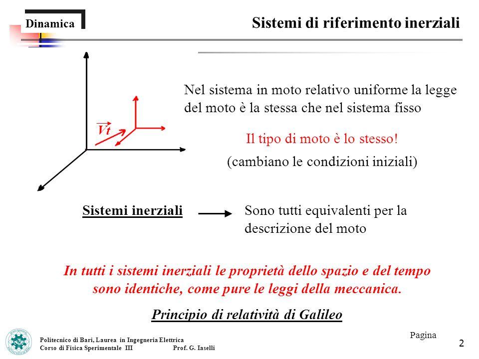 2 Dinamica Sistemi di riferimento inerziali Nel sistema in moto relativo uniforme la legge del moto è la stessa che nel sistema fisso Il tipo di moto