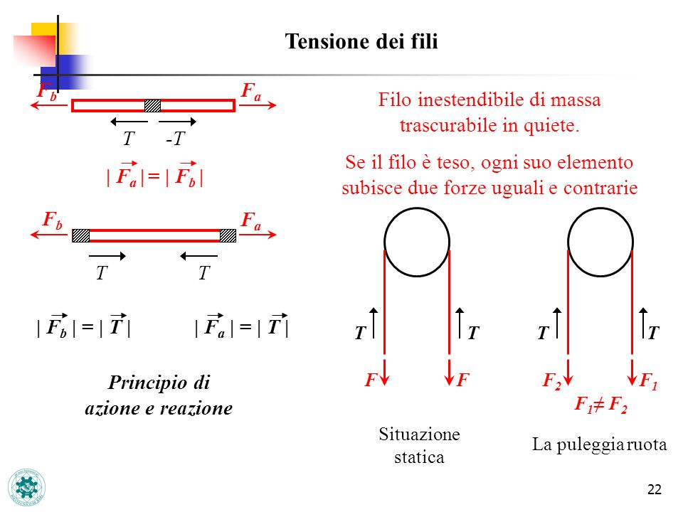 22 Tensione dei fili -T T FbFb FaFa T T FbFb FaFa | F a | = | F b | Principio di azione e reazione Filo inestendibile di massa trascurabile in quiete.