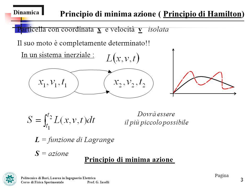 3 Dinamica Principio di minima azione ( Principio di Hamilton) Politecnico di Bari, Laurea in Ingegneria Elettrica Corso di Fisica Sperimentale Prof.