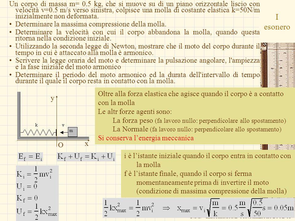 G.M. - Informatica B-Automazione 2002/03 i è listante iniziale quando il corpo entra in contatto con la molla f è listante finale, quando il corpo si