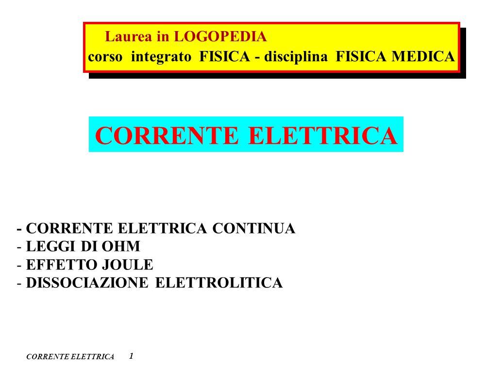 CORRENTE ELETTRICA 1 - CORRENTE ELETTRICA CONTINUA - LEGGI DI OHM - EFFETTO JOULE - DISSOCIAZIONE ELETTROLITICA corso integrato FISICA - disciplina FI