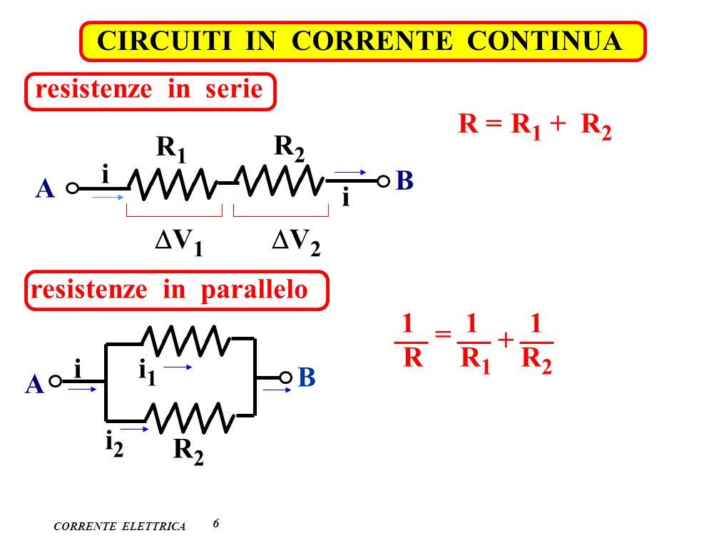 CORRENTE ELETTRICA CIRCUITI IN CORRENTE CONTINUA 6 resistenze in serie R1R1 R2R2 A B i i V 1 V 2 R = R 1 + R 2 resistenze in parallelo A B R2R2 i1i1 i