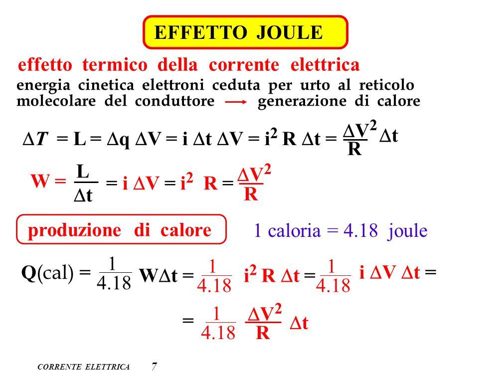 CORRENTE ELETTRICA 7 EFFETTO JOULE effetto termico della corrente elettrica energia cinetica elettroni ceduta per urto al reticolo molecolare del cond