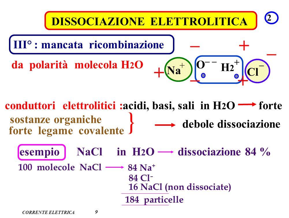 CORRENTE ELETTRICA DISSOCIAZIONE ELETTROLITICA 2 9 III° : mancata ricombinazione da polarità molecola H 2 O Na Cl O – – H2H2 + + – + – – – + + acidi,
