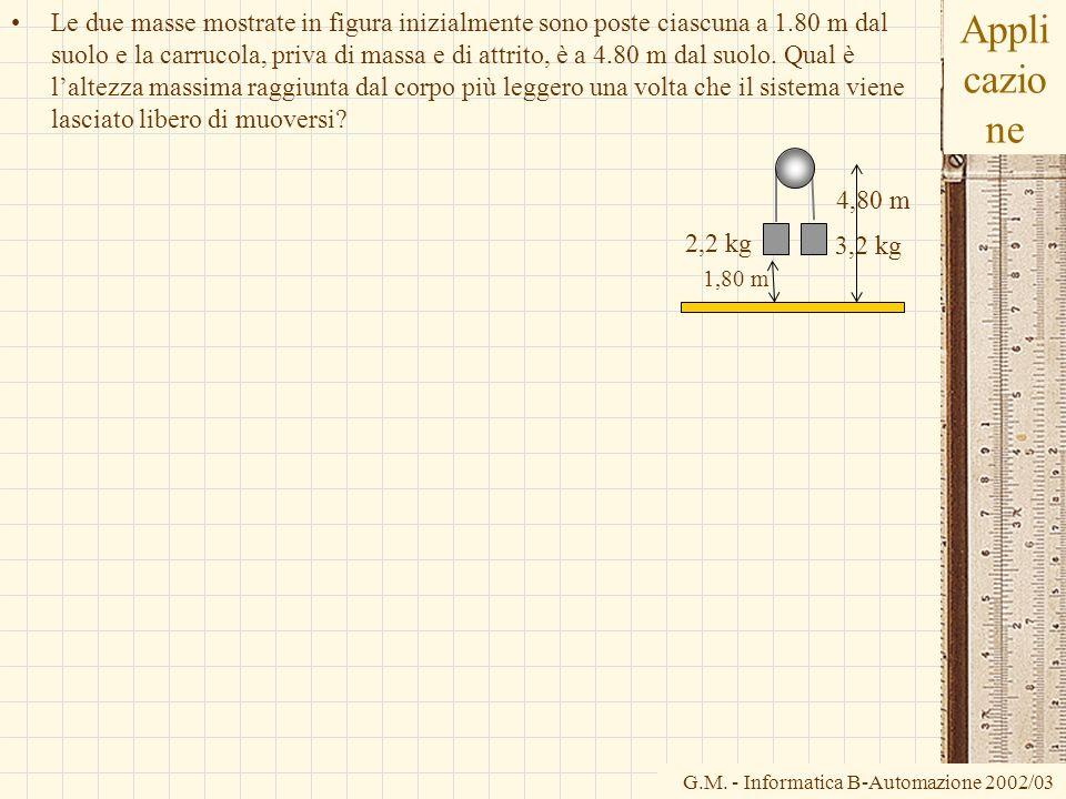 G.M. - Informatica B-Automazione 2002/03 Appli cazio ne Le due masse mostrate in figura inizialmente sono poste ciascuna a 1.80 m dal suolo e la carru