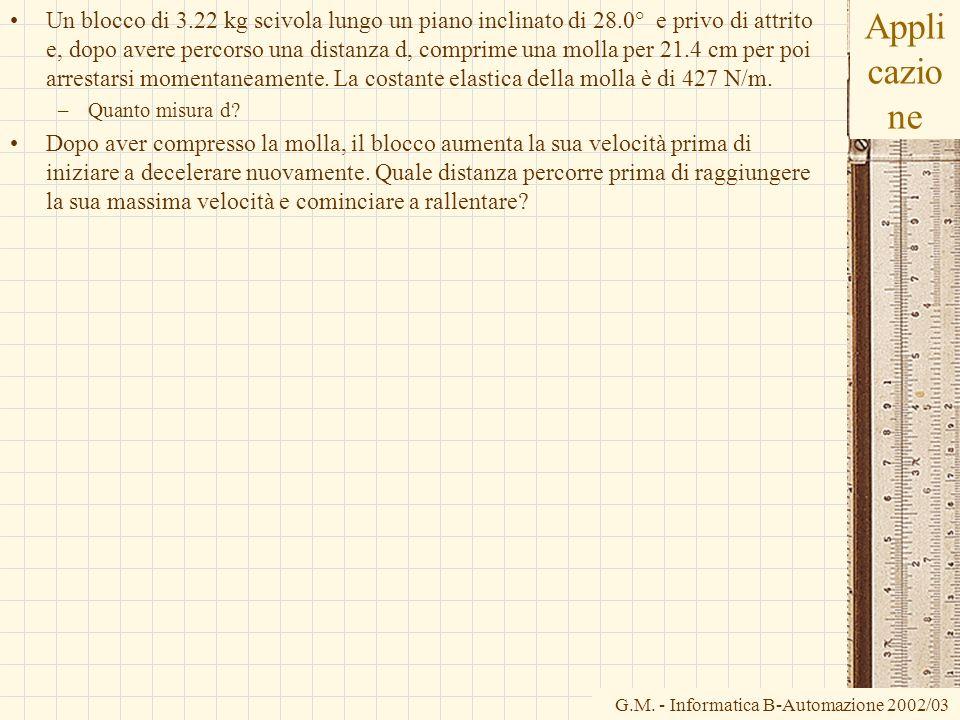 G.M. - Informatica B-Automazione 2002/03 Appli cazio ne Un blocco di 3.22 kg scivola lungo un piano inclinato di 28.0° e privo di attrito e, dopo aver