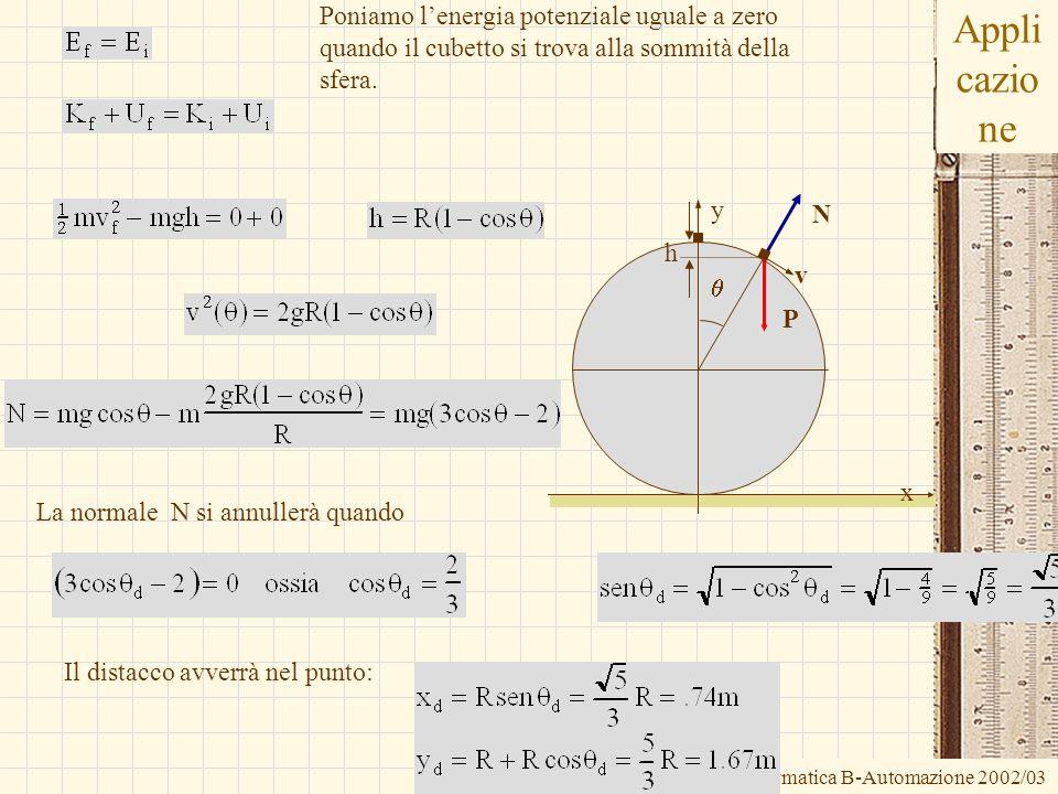 G.M. - Informatica B-Automazione 2002/03 Appli cazio ne N P v h Poniamo lenergia potenziale uguale a zero quando il cubetto si trova alla sommità dell