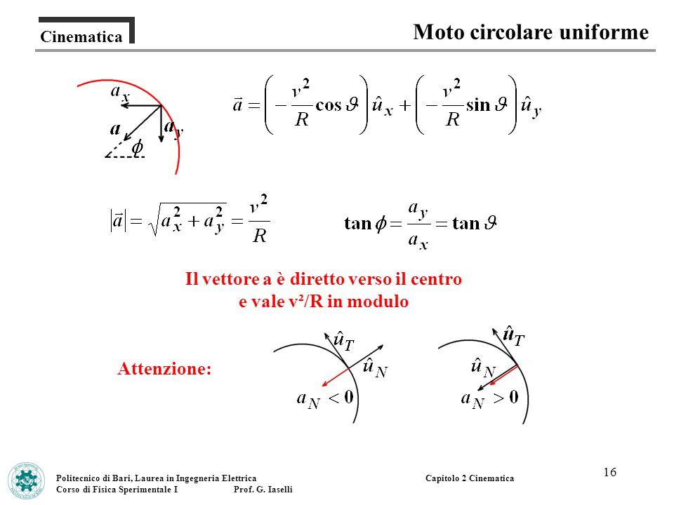 16 Cinematica Moto circolare uniforme Politecnico di Bari, Laurea in Ingegneria Elettrica Corso di Fisica Sperimentale I Prof. G. Iaselli Capitolo 2 C