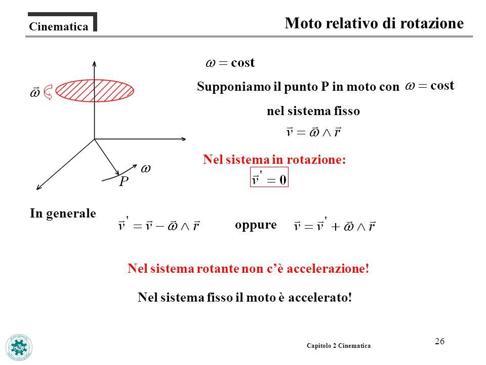 26 Cinematica Moto relativo di rotazione Capitolo 2 Cinematica Nel sistema in rotazione: In generale Nel sistema rotante non cè accelerazione! Supponi