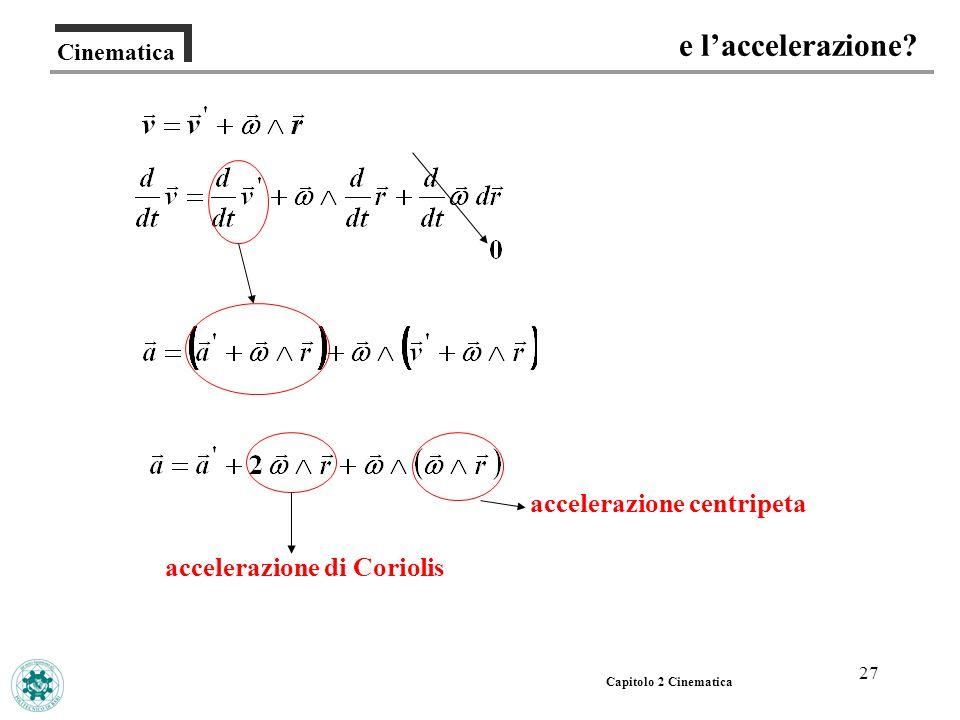 27 Cinematica e laccelerazione? Capitolo 2 Cinematica accelerazione centripeta accelerazione di Coriolis