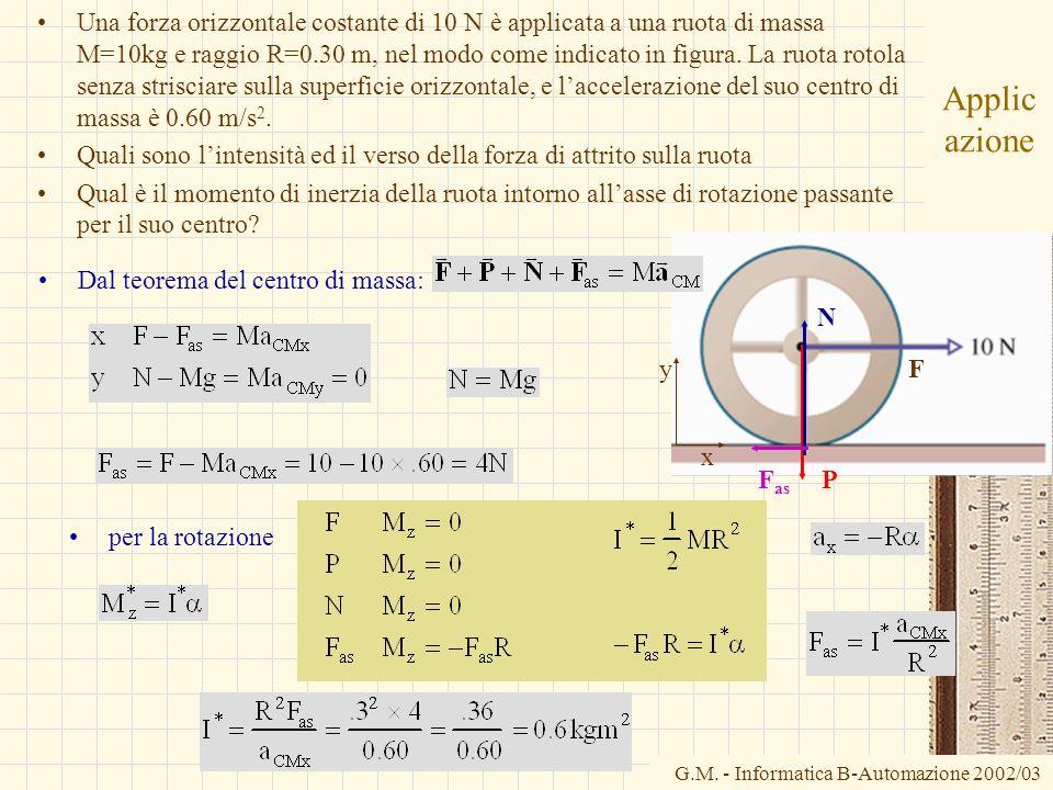 G.M. - Informatica B-Automazione 2002/03 Applic azione Una forza orizzontale costante di 10 N è applicata a una ruota di massa M=10kg e raggio R=0.30