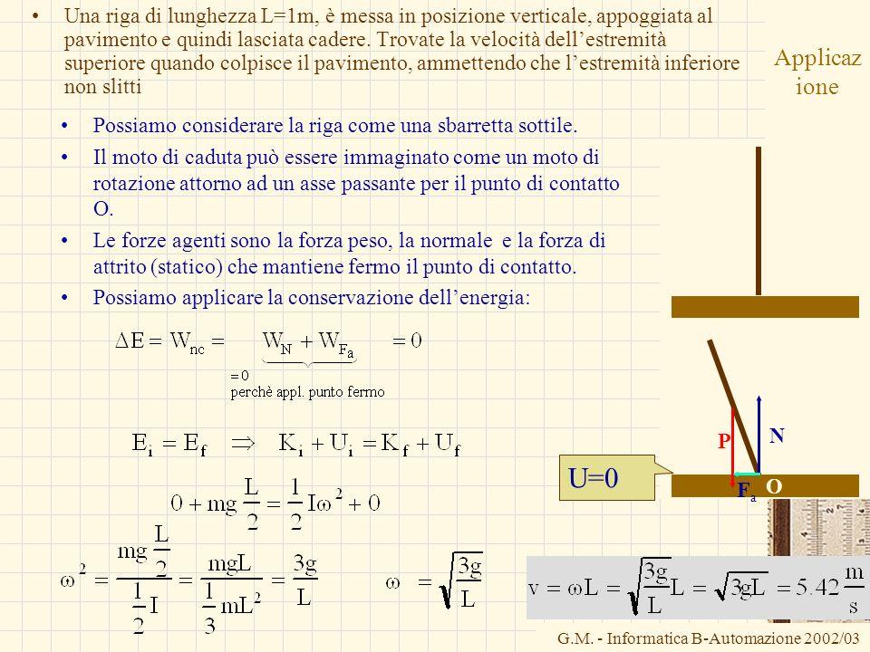 G.M. - Informatica B-Automazione 2002/03 Applicaz ione Una riga di lunghezza L=1m, è messa in posizione verticale, appoggiata al pavimento e quindi la