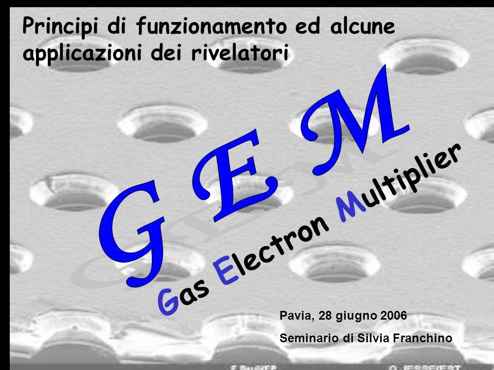 2 Sommario: 1) Principio di funzionamento dei rivelatori GEM e multi-GEM 4) Studio di alcuni fattori che influenzano le prestazioni dei rivelatori a multi-GEM 3) Possibilità di impiego 2) Caratteristiche dei rivelatori a GEM