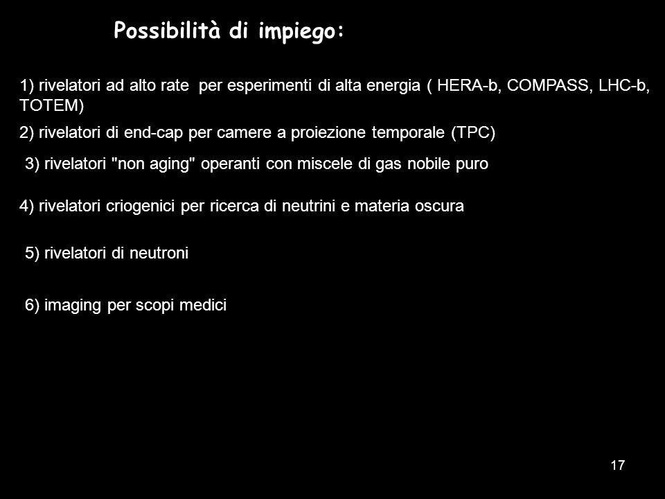 17 Possibilità di impiego: 1) rivelatori ad alto rate per esperimenti di alta energia ( HERA-b, COMPASS, LHC-b, TOTEM) 3) rivelatori