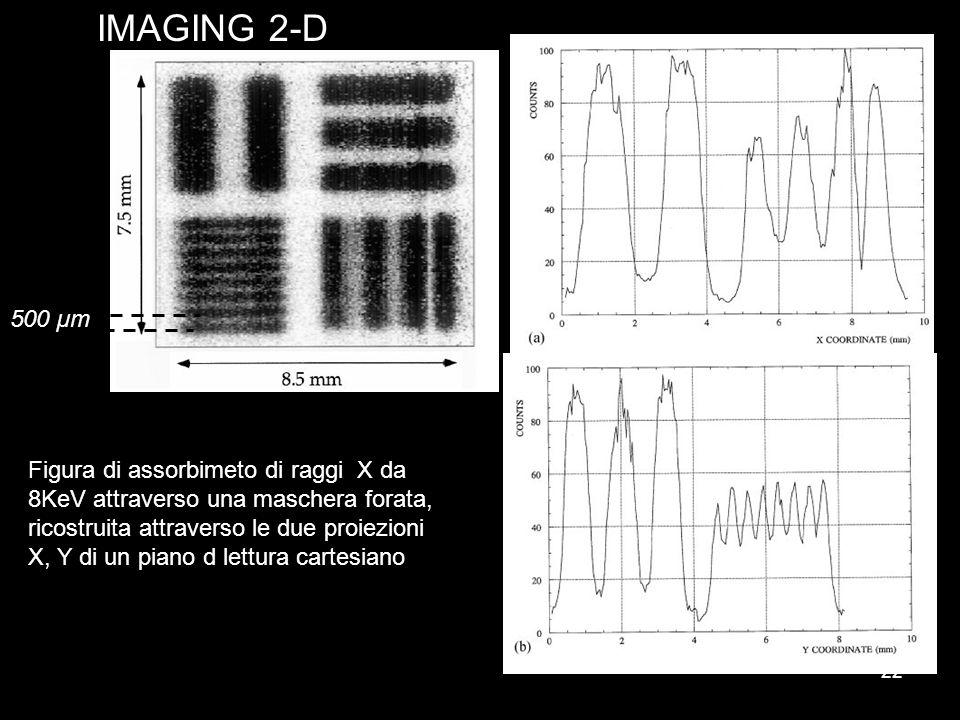 22 IMAGING 2-D 500 µm Figura di assorbimeto di raggi X da 8KeV attraverso una maschera forata, ricostruita attraverso le due proiezioni X, Y di un pia