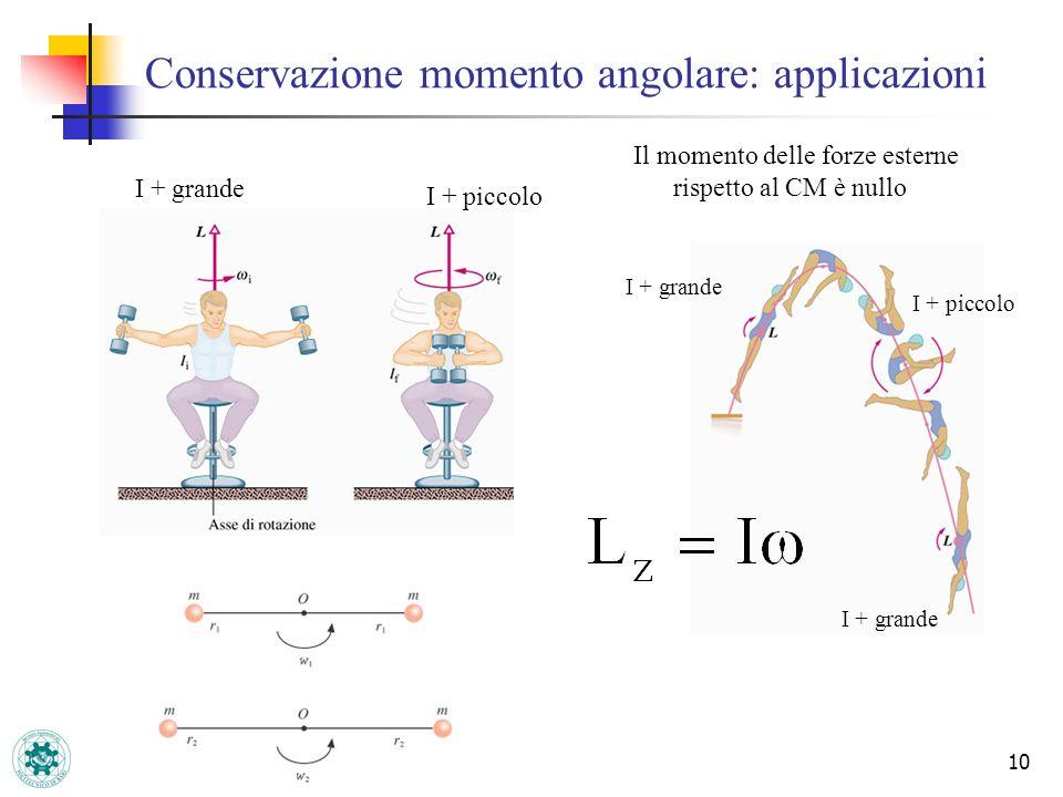 Conservazione momento angolare: applicazioni 10 Il momento delle forze esterne rispetto al CM è nullo I + grande I + piccolo I + grande I + piccolo