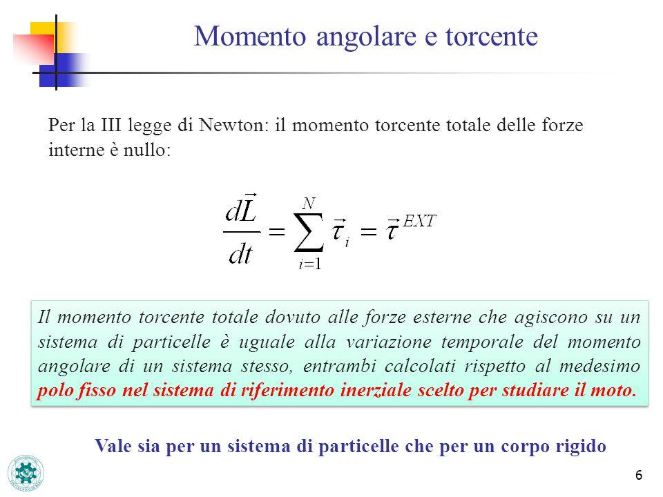 6 Momento angolare e torcente Per la III legge di Newton: il momento torcente totale delle forze interne è nullo: Il momento torcente totale dovuto al