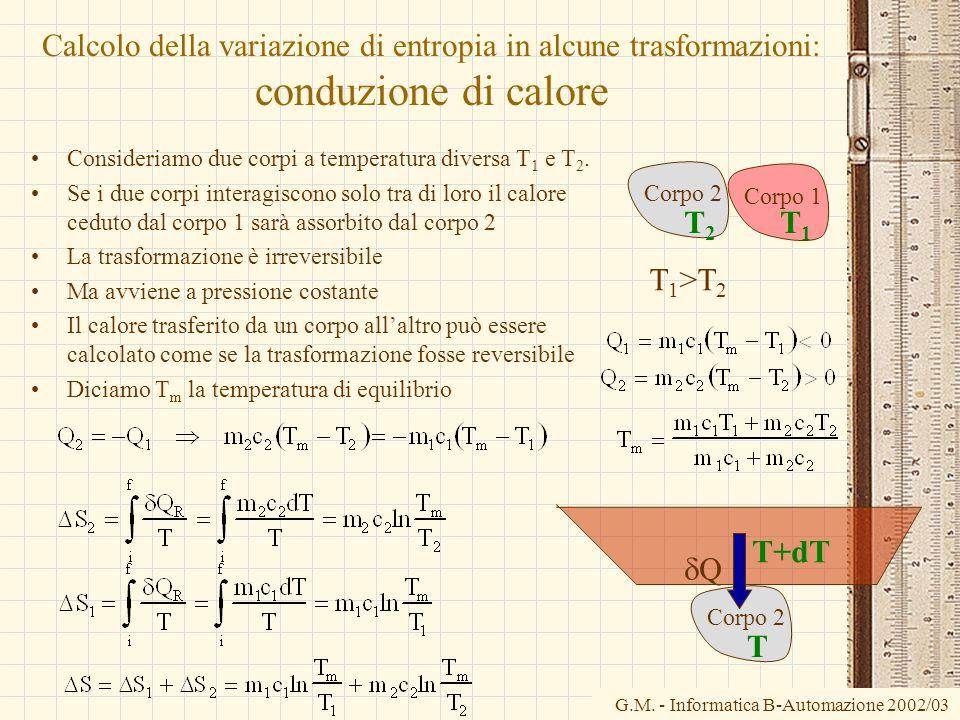 G.M. - Informatica B-Automazione 2002/03 Calcolo della variazione di entropia in alcune trasformazioni: conduzione di calore Consideriamo due corpi a