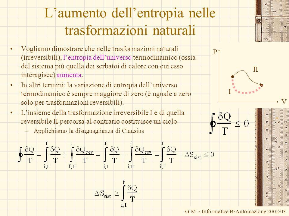 G.M. - Informatica B-Automazione 2002/03 Laumento dellentropia nelle trasformazioni naturali Vogliamo dimostrare che nelle trasformazioni naturali (ir