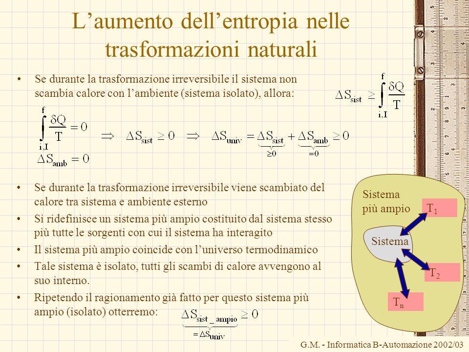 G.M. - Informatica B-Automazione 2002/03 Laumento dellentropia nelle trasformazioni naturali Se durante la trasformazione irreversibile il sistema non