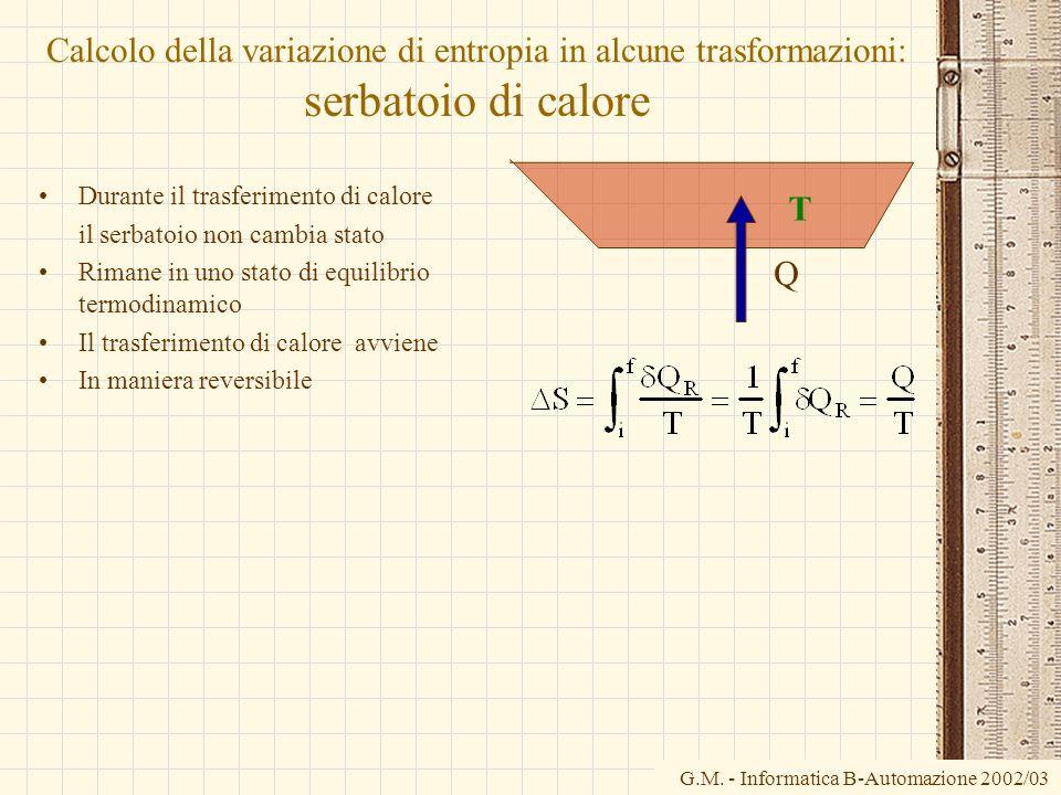 G.M. - Informatica B-Automazione 2002/03 Calcolo della variazione di entropia in alcune trasformazioni: serbatoio di calore Durante il trasferimento d