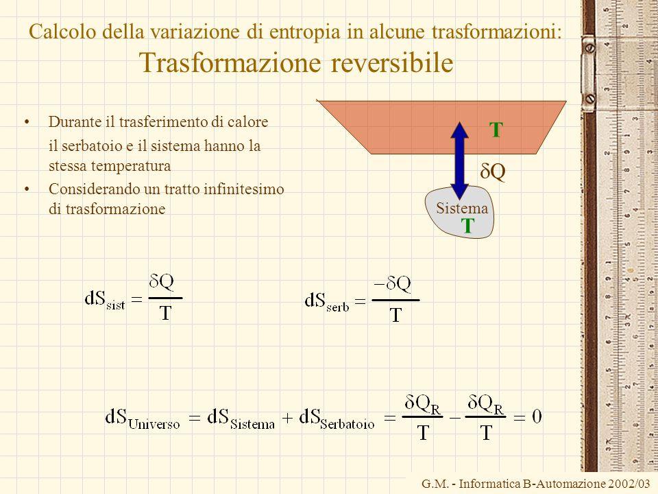 G.M. - Informatica B-Automazione 2002/03 Sistema Calcolo della variazione di entropia in alcune trasformazioni: Trasformazione reversibile Durante il