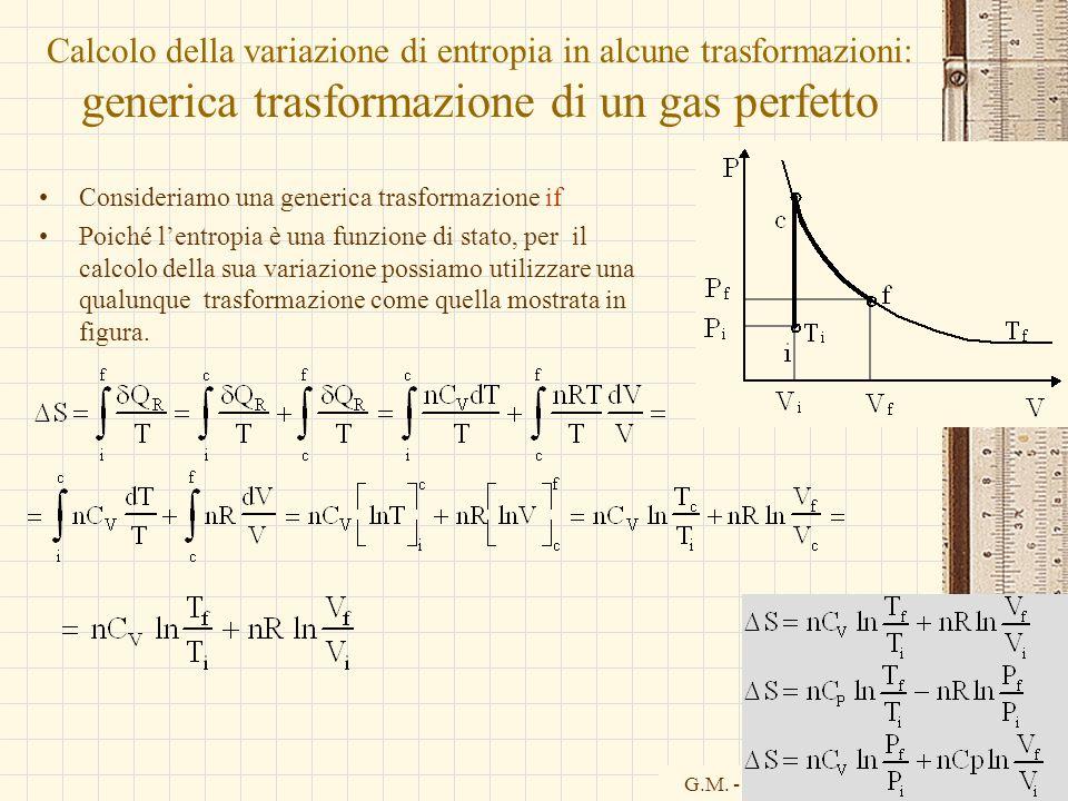 G.M. - Informatica B-Automazione 2002/03 Calcolo della variazione di entropia in alcune trasformazioni: generica trasformazione di un gas perfetto Con