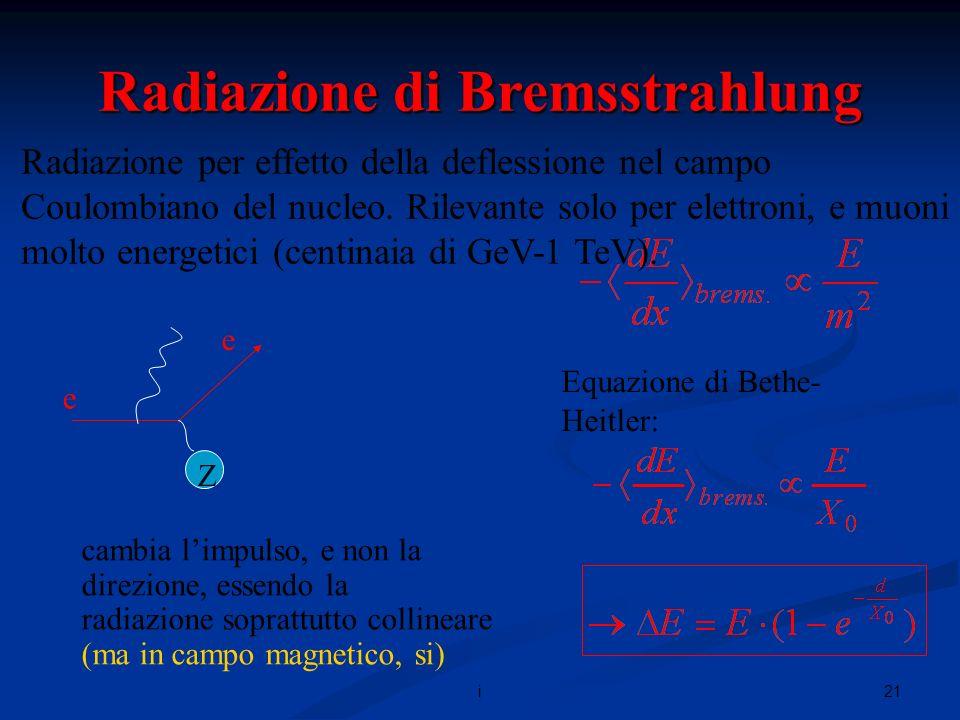 21i Radiazione di Bremsstrahlung Radiazione per effetto della deflessione nel campo Coulombiano del nucleo.