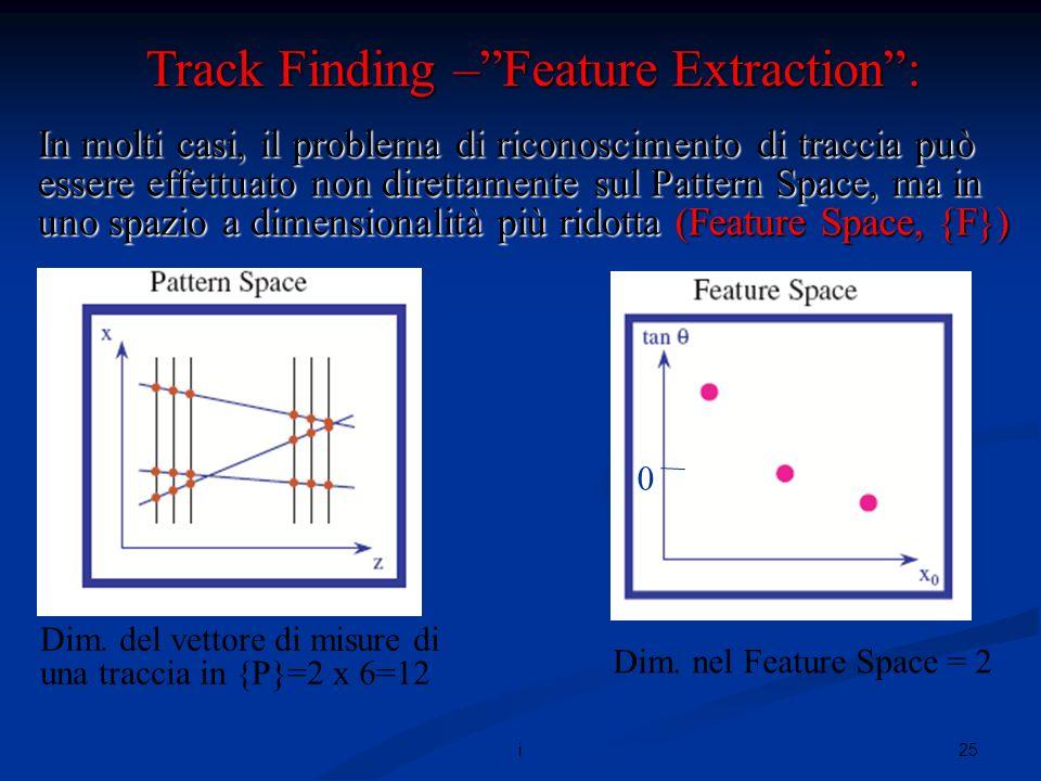 25i In molti casi, il problema di riconoscimento di traccia può essere effettuato non direttamente sul Pattern Space, ma in uno spazio a dimensionalità più ridotta (Feature Space, {F}) Track Finding –Feature Extraction: Dim.
