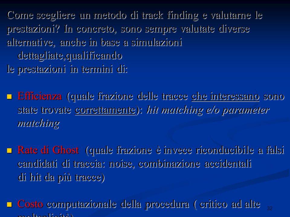 32i Come scegliere un metodo di track finding e valutarne le prestazioni.