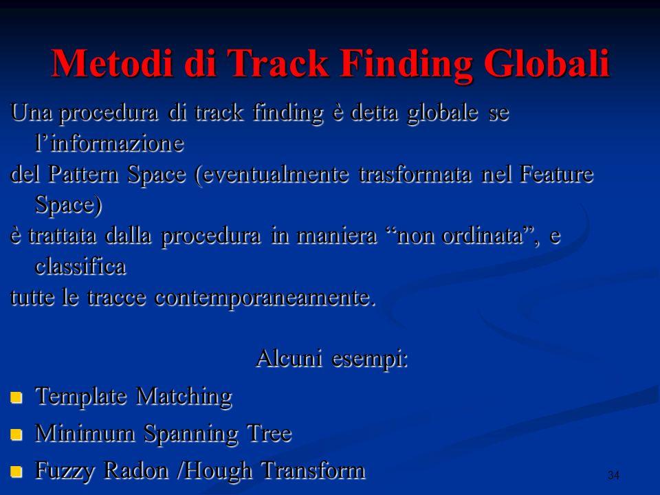 34i Metodi di Track Finding Globali Una procedura di track finding è detta globale se linformazione del Pattern Space (eventualmente trasformata nel Feature Space) è trattata dalla procedura in maniera non ordinata, e classifica tutte le tracce contemporaneamente.