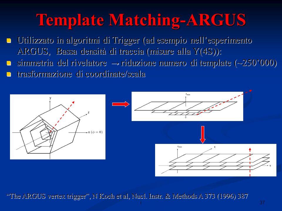 37i Template Matching-ARGUS Utilizzato in algoritmi di Trigger (ad esempio nellesperimento ARGUS, Bassa densità di traccia (misure alla Y(4S)): Utilizzato in algoritmi di Trigger (ad esempio nellesperimento ARGUS, Bassa densità di traccia (misure alla Y(4S)): simmetria del rivelatore riduzione numero di template (~250000) simmetria del rivelatore riduzione numero di template (~250000) trasformazione di coordinate/scala trasformazione di coordinate/scala The ARGUS vertex trigger, N Koch et al, Nucl.